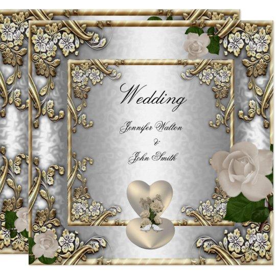 Elegant Wedding Gold Rose Silver White Card