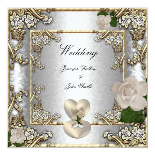 Elegant Wedding Gold Rose Silver White Card