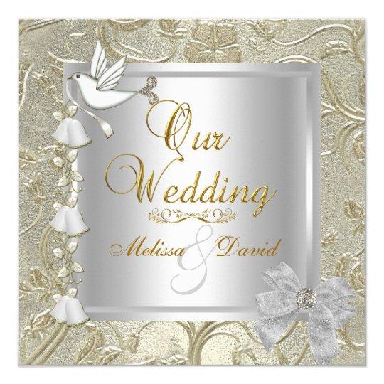 Elegant Wedding Gold Silver White Dove Card