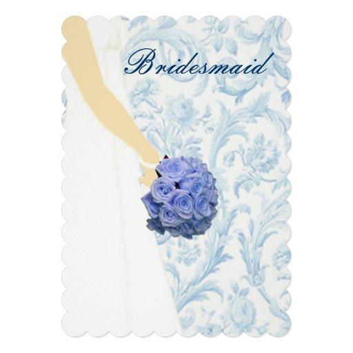 Elegant Wedding Gown Blue Bridesmaid Card