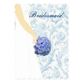 Elegant Wedding Gown Blue Bridesmaid Card Announcements