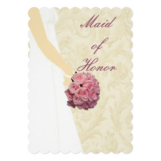 Elegant Wedding Gown Maid Of Honor Card