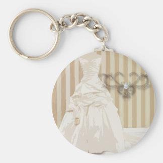 Elegant Wedding Gown Wedding Favor Basic Round Button Key Ring