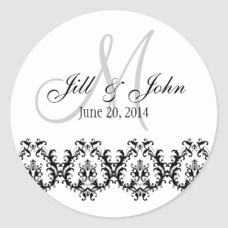 Elegant Wedding Grey Monogram Save the Date Round Sticker