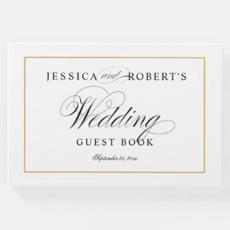 Elegant Wedding Guest Book Solid Gold Border