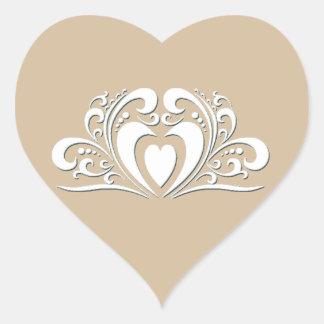 Elegant Wedding Heart Sticker