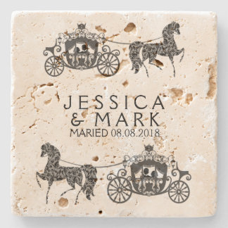 Elegant Wedding Horse & Carriage Stone Coaster