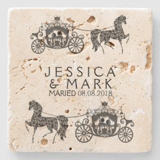 Elegant Wedding Horse & Carriage Stone Coaster