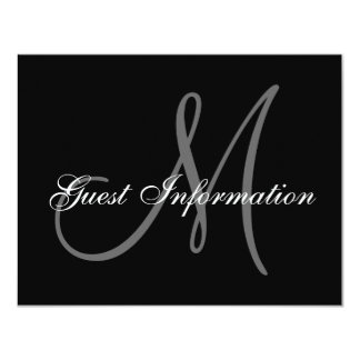 Elegant Wedding Information Card with Monogram 11 Cm X 14 Cm Invitation Card