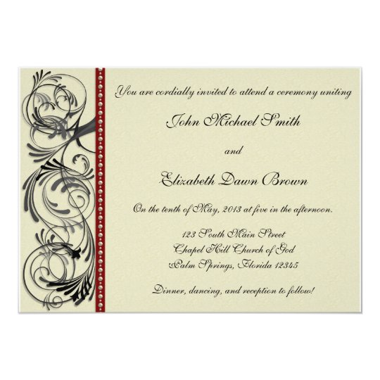 Elegant Wedding Invitation: Black, Red, and Taupe Card