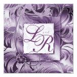 Elegant Wedding Invitation Floral Purple Silver