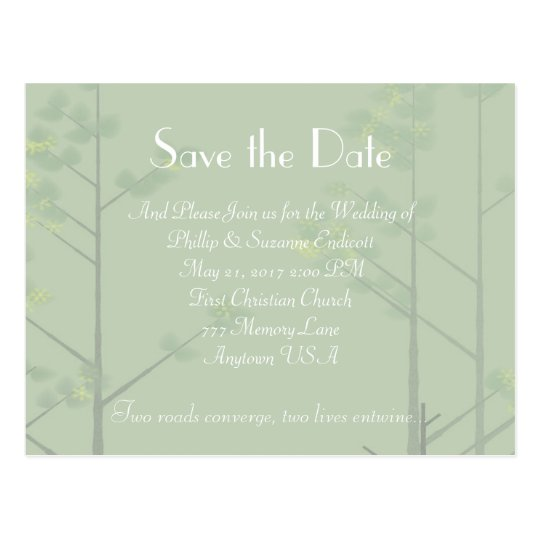 Elegant Wedding Invitation Green Tree Art Postcard
