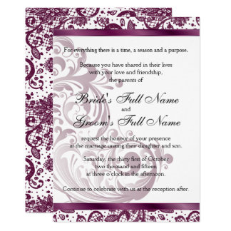 Elegant Wedding Invitation - Purple 5x7
