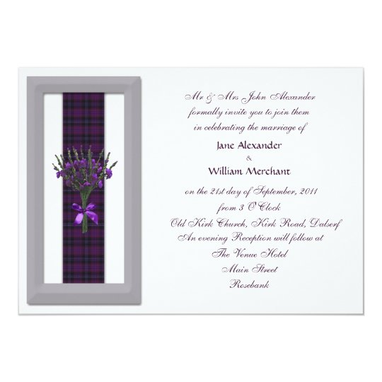 Elegant Wedding Invitation Purple Scottish Tartan