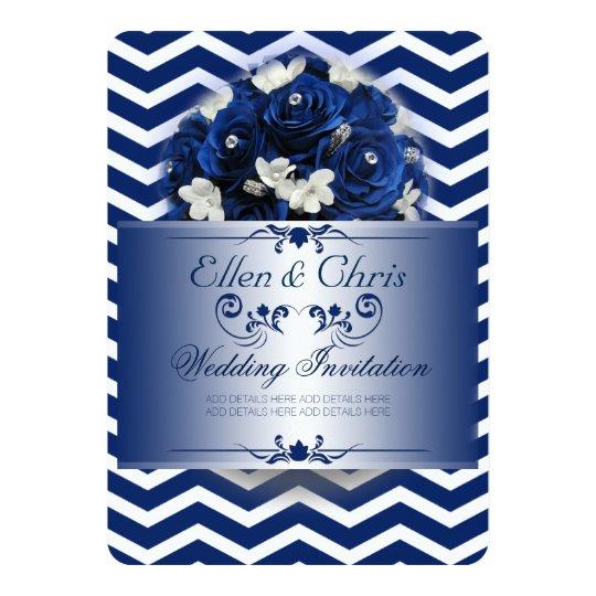 Elegant Wedding Invitation Royal Blue Motif