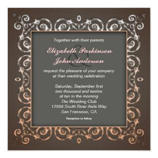 "elegant wedding invitations 5.25"" square invitation card"