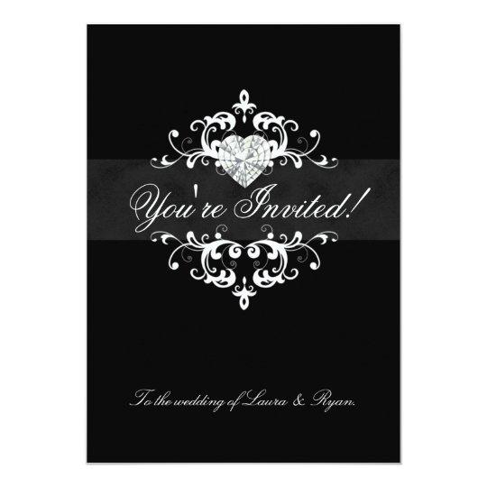 Elegant Wedding Invite Jewel Heart Black White