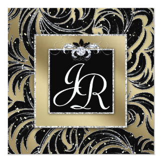 Elegant Wedding Invite Leaf Floral Black Sparkle