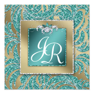 Elegant Wedding Invite Leaf Floral Teal Sparkle