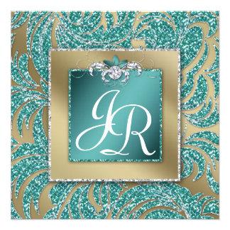 Elegant Wedding Invite Leaf Floral Teal Sparkle