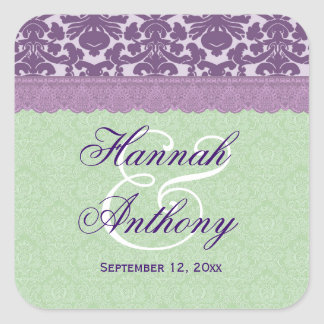Elegant Wedding Label PURPLE and MINT Damask V02 Square Stickers