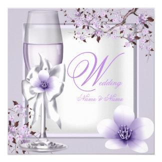 Elegant Wedding Lavender Purple Lilac 6 13 Cm X 13 Cm Square Invitation Card