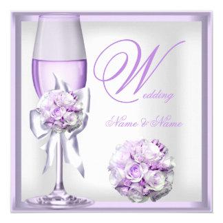 Elegant Wedding Lavender Purple Lilac Champagne 2 13 Cm X 13 Cm Square Invitation Card
