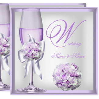 Elegant Wedding Lavender Purple Lilac Champagne 2 Card