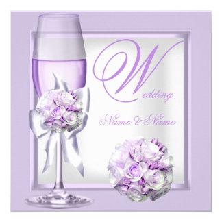 Elegant Wedding Lavender Purple Lilac Champagne 3 13 Cm X 13 Cm Square Invitation Card