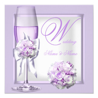 Elegant Wedding Lavender Purple Lilac Champagne 3 Card