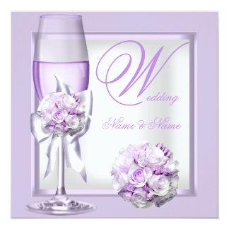 Elegant Wedding Lavender Purple Lilac Champagne 3 Custom Invite