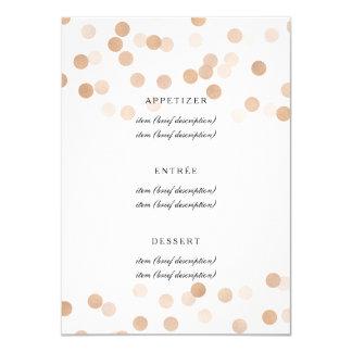 Elegant Wedding Menu Copper Foil Glitter Lights Card