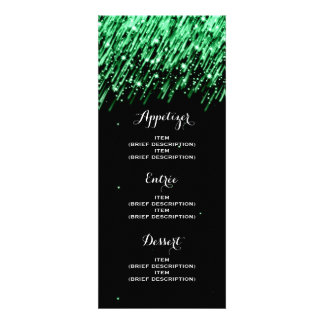 "Elegant Wedding Menu Falling Stars ""Emerald Green"" Custom Invite"