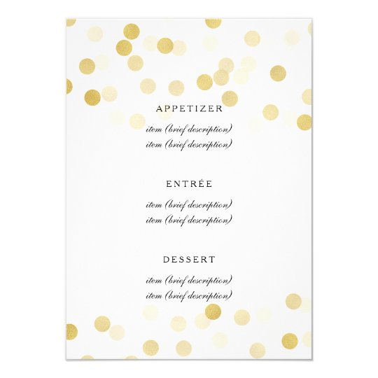 Elegant Wedding Menu Faux Gold Foil Glitter Lights