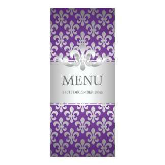 Elegant Wedding Menu Fleur De Lis Purple 10 Cm X 24 Cm Invitation Card