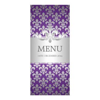 Elegant Wedding Menu Fleur De Lis Purple Personalized Invites
