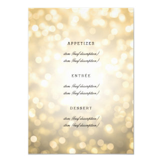 Elegant Wedding Menu Gold Glitter Lights Card