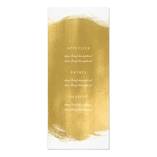 Elegant Wedding Menu Gold Paint Look Card