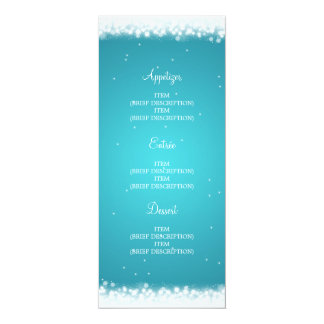 Elegant Wedding Menu  Magic Sparkle Turquoise 10 Cm X 24 Cm Invitation Card