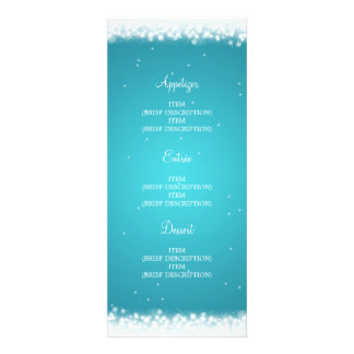 Elegant Wedding Menu Magic Sparkle Turquoise Personalized Invitations