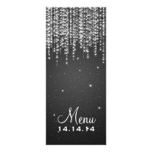 Elegant Wedding Menu Night Dazzle Black Custom Invites
