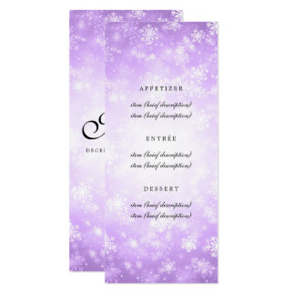 Elegant Wedding Menu Purple Winter Wonderland Card