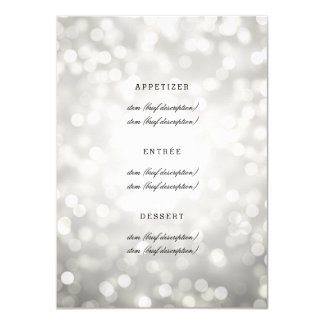 Elegant Wedding Menu Silver Glitter Lights 11 Cm X 16 Cm Invitation Card