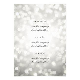 Elegant Wedding Menu Silver Glitter Lights Card
