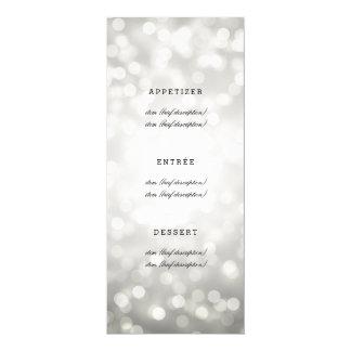 Elegant Wedding Menu Silver Glitter Lights 10 Cm X 24 Cm Invitation Card