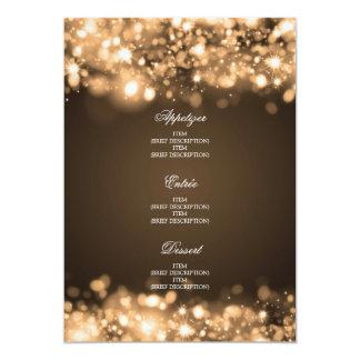 Elegant Wedding Menu Sparkling Lights Gold Card