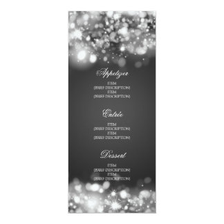 Elegant Wedding Menu Sparkling Lights Silver Card