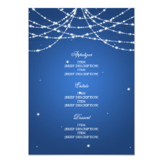 Elegant Wedding Menu Sparkling String Blue Card