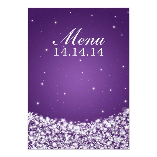 Elegant Wedding Menu Star Sparkle Purple Card