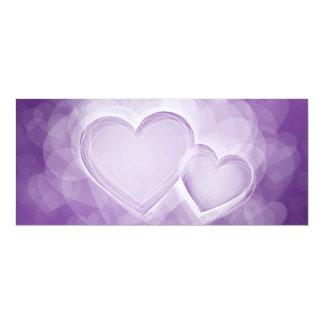 Elegant Wedding Modern Hearts Purple 10 Cm X 24 Cm Invitation Card